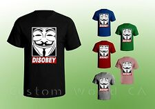Disobey Men T-Shirt Anonymous Occupy Revolution Mask Hacker Shirt