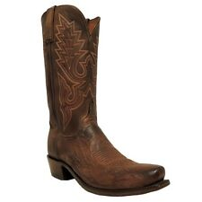 Lucchese Mens Brown Burnished Smooth Ostrich Leg Boot N9581.74 NIB