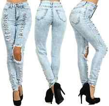 HIGH WAISTED WASH ACID MINERAL BIG HOLE DISTRESSED RIPPED SKINNY DENIM JEAN PANT