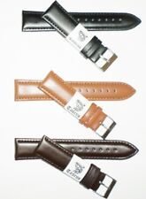 Taurus® Genuine Leather Watch Band Black Brown 18mm 20mm 22mm Silver/Gold Buckle