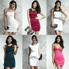 Ladies Mini Dress Evening Dress Club Wear Midi Bodycon Peplum Dress 8 10 12 14