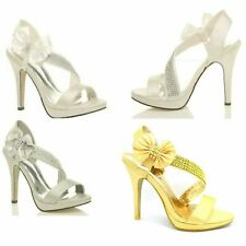 WOMENS WEDDING EVENING LADIES PROM HIGH HEEL PLATFORM SHOES BRIDAL SANDALS SIZE