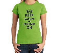 Keep Calm And Drink On Funny Ladies T Shirt Beer Shirt Alcohol Drinking Brewski