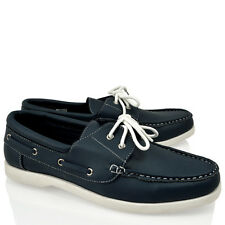 MENS BOYS CLASSIC LACE UP BLUE NAVY FAUX LEATHER BOAT CASUAL DECK SHOES SIZE
