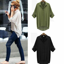 Long Sleeve Sheer Chiffon Shirt Button Down Collar Loose Top Blouse New Fashion