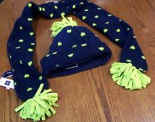 NWT GAP KIDS Navy Blue & Lime Green Heart Fleece SCARF or HAT or SET Girl S / M