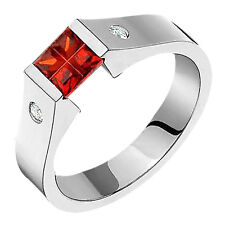 Titanium Diamond Ring Garnet Tension Set Handmade Wedding Band Free Size 4 to 14