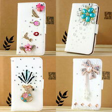 Luxury handmade flip leather card slot wallet 3d bling case fold cover For Sony
