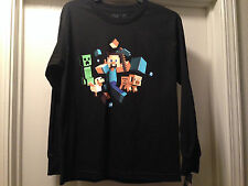 Minecraft Steve Run Away Creeper Boys Black Glow in Dark Long Sleeve T Shirt NEW