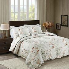 Floral Vintage Patchwork Quilted Bedspread Throw & 2 Pillow Shams