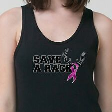 SAVE A RACK Breast Cancer Awareness Tee Funny Redneck Humor Adult Tank Top