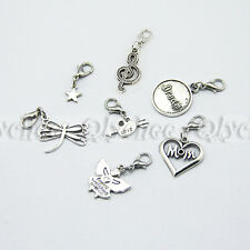 Silver Tone Plated Clip on Charms Dangle Fit Link Chain Bracelet Floating Charms