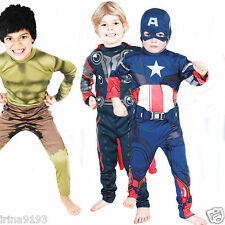 Marvel The Avengers Kids Superheroes Character Costume Thor,Captain America,Hulk
