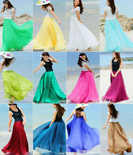 New Hot Summer Women/Girls Elastic Waist Band Dress Chiffon Long Maxi Skirt