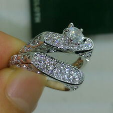 Vintage jewelry 10kt white gold Filled Topaz Women Wedding Ring Set size 5-11
