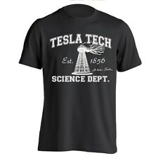 TESLA TECH funny science nerd geek nikola genius auto retro MENS BLACK T-SHIRT