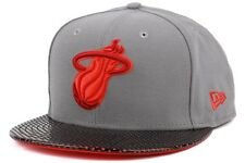 New Era Team Perf NBA Team Miami Heat New Mens Grey Lifestyle Fitted Caps Hats