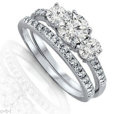 Brilliant Cut Engagement Wedding CZ Genuine Sterling Silver Ring Set Size 3 - 12