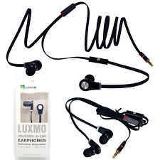 Black Luxmo Earbuds for ZTE Phones Handsfree Mic Headset Earphones 3.5mm Flat