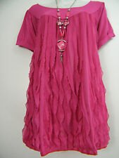 FAB FRILLED FRONT SUMMER TOP WITH NECKLACE  IN 6 COLOURS   BNWT  SIZE 12-20