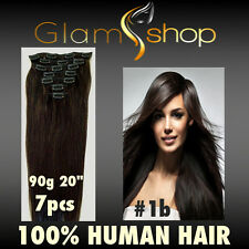 "20"" CLIP IN STRAIGHT 100% Human Remy Hair extensions 90g 7pcs clip in extensions"