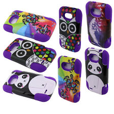 For ZTE Savvy Z750C Phone KICKSTAND Tuff Case Cover Hybrid Panda Turtle