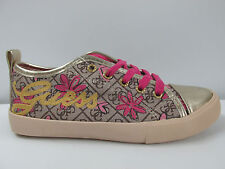 GUESS GIRLS  LOW LACE UP CASUAL SHOES SPORT FASHION TRAINERS GOLD/TAN SIZE UK
