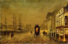 JOHN ATKINSON GRIMSHAW Liverpool Docks SHIP street carriage night CANVAS PRINT
