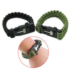 Survival Green Paracord Bracelet w/ Flint Fire Starter Scraper Whistle Gear Kits