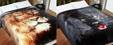 Lion or Panther 500gsm Faux Fur Mink Blanket Queen / King  Size 240 x 220cm NEW