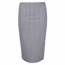 New Ladies Womens Elasticated Pull Up Gingham Print Check Bodycon Pencil Skirt