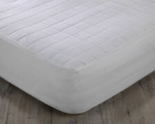 Natural Pure Cotton Luxury Quilted Mattress Protector Bed Cover Deep 38cm Skirt