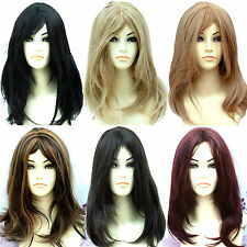 Ladies Fashion Wigs Shoulder Length Black Brown Auburn Red Face Frame Wigs