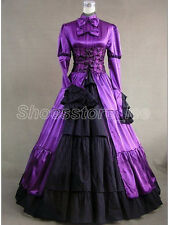 Purple Satin Victorian Goth Ruffles Gown Ball Lolita Dress Outfit Tailor Made 09