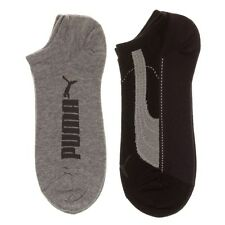 New Mens Puma Black 2 Pack Trainer Socks Cotton/Polyester Liner