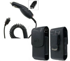 Car Charger + Vertical Leather Swivel Belt Clip Case Pouch for ZTE Cell Phones
