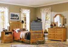 Youth Slat Poster Bed w Nightstand & Dresser Set in Pine Finish [ID 719889]