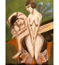"""ERNST LUDWIG KIRCHNER """"Two Nudes in the Room"""" CURVACEOUS sitting on stool NEW!!"""