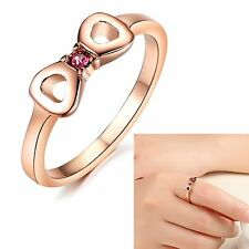 Rose Gold Plated Charm women Crystal bowknot Ring You who came from the stars
