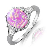 Large Oval Cut Pink Fire Opal White Sapphire Sterling Silver Ring Size 3 - 12