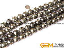Natural 20mm round silver gray pyrite gemstone jewelry making beads strand 15""