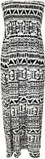 New Ladies Womens Aztec Print Shirring Bandeau Maxi Dress Plus Normal Sizes 8-22