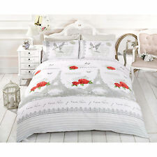 Eiffel Tower French Paris Duvet Cover – Floral Rose Red Natural Cream Bed Set