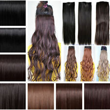 """18""""-24"""" Long New Women Hair Extensions Wavy Curly/Straight Synthetic Clip in AMP"""