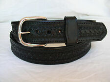 "Belt Black Basket Weave 2 Ply Lined 1 1/2"" Heavy Duty Leather Gun Carry Holster"