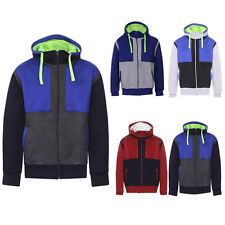 New Men's Plain Contrast Varsity Sweatshirt Zip Fleece Hoodie Casual Jacket S-XL
