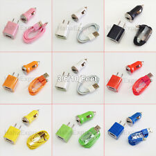 USB Home AC Wall + Car Charger + 8 Pin Data Sync Cable For iPhone 6 5 5S US LOT