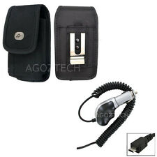 Heavy Duty Car Charger + Vertical Canvas Belt Clip Case for Motorola Cell Phones