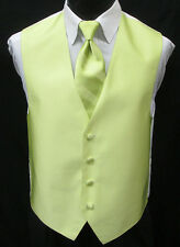 New Key Lime Green Tuxedo Vest & Choice of Tie Wedding Prom *FREE SHIPPING* L