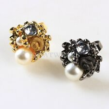 2 Color Fashion Dazzling Crystal Lovely Rose Flower Imitate Pearl Rings IUK